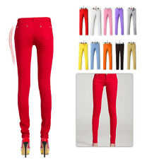 Women lady Sexy Candy Color Stretch Pencil Pants Casual Slim Skinny Jean Trouser