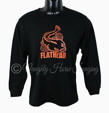 MEN'S LONG SLEEVE T-SHIRT 100% COTTON BRAND NEW FLATHEAD FISH DESIGN