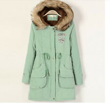 NEW Frock Coat Jacket Womens Winter Warm Long Section Padded Thick Fur Collar