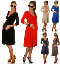 Women's Maternity Dress V-Neck Cocktail Jersey Offiice SIZE_36 38 40 42 44 46#44