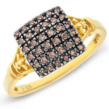 Sophisticated Yellow Gold Finish 0.25CTW Champagne Diamond Pave Cocktail Ring