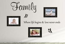 FAMILY Where life begins & love never ends Wall Sticker Quote - Removable