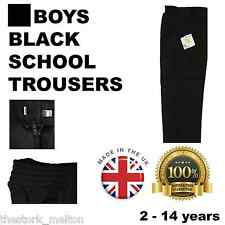 Black School Trousers Boys Uniform Size ages Elasticated Teflon MADE IN THE UK