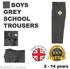 Grey School Trousers Boys Uniform Size Ages Elasticated Teflon Quality & Value!