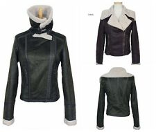 New Woman Suede Leather  Jacket Lapel Short Pilot Lamb Wool Jacket