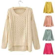 Women Round Neck Hollow Knitted Pullover Jumper Loose Sweater Knitwear Charm 8