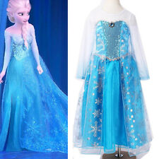 Halloween Girls Kids Frozen Princess Elsa Fancy Dress 1-12 Years Party Costumes