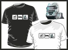 KOOLART EAT SLEEP LAYLAND DAF TRUCK TRUCKER mens or ladyfit t-shirt Black/white