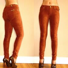 $198 Seven 7 For All Mankind Sueded Skinny Jeans Leggings Rust Caramel Tan 23-31