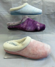 LADIES MEMORY FOAM FUR LINE MULE SLIPPERS,BLUE,PURPLE,PINK SIZE 3-8 AMANDA