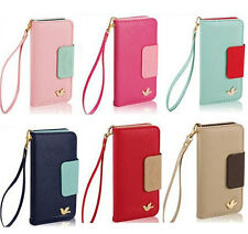 Cheap Durable Card Holder Fake Leather Flip Case Cover For iPhone 4/5/5C Samsung