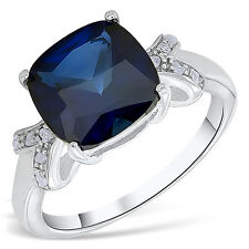 Women's 2.00 CTW Genuine Sapphire & 0.15 CTW Diamonds 14K Gold Finish Ring
