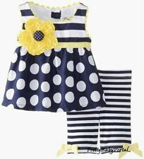 NEW GIRLS Baby Toddler Kid's Clothes Short Sleeve Polka Dot Tops+Pirate Set