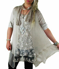 MADE IN ITALY Lagenlook Tunic Tops One Plus Size 14 16 18 20 22 24 cream grey