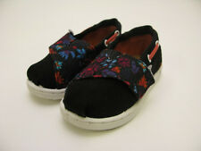 TINY TOMS BIMINI CLASSIC SLIP ON BLACK FLORAL BLOCK TODDLER 10002664