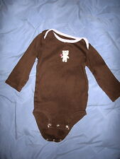 Carter's-1 Piece Long Sleeve Shirt wih Teddy on Front/Snap Crotch