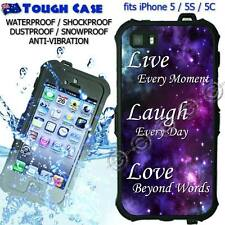 TOUGH Waterproof CASE COVER iPhone 5 5S 5C 6 Live Laugh Love Purple Galaxy 50