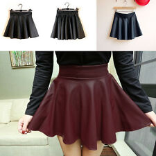 New Chic Womens Shiny High Waisted Faux Leather PU Wet Look Skater Mini Skirt