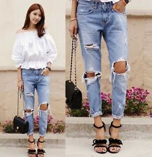 Women Destroyed Ripped Hole Casual Washed Denim Jeans Wornout Jeans Ninth Pants