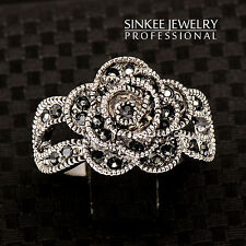 sinkee free shipping Antique Silver zircon black rose rings for women JZ377