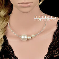 sinkee New Hook Loop Choker Collar Big Colorized Resin pearl Necklace Wire XL378