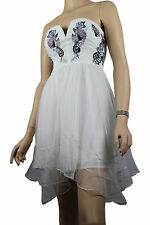 Ladies White Womens Strapless Evening Party Wedding Tulle Dress Size 10 Size 12