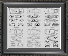 Blueprint Art - Ferrari Auto Collection - Car Artwork Gift Poster Print BFERR