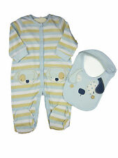 Baby Boy Clothing Sleepsuit All in One with Bib 2 Piece Set Blue New