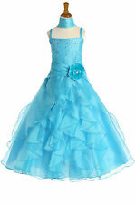 Dressesforgirls Turquoise Ruffled Flower Girl Pageant Formal Party Dress G3248