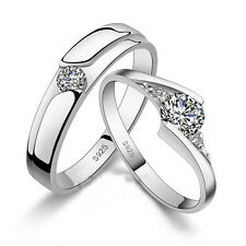 Forever love Crystal Silver Couple Rings Wedding Band His and Her Promise Rings