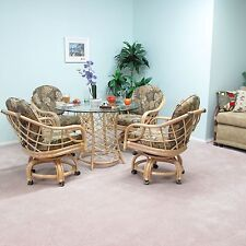 Made in USA Rattan Dining Caster Chair Table Gaming Furniture Newton 5PC Set