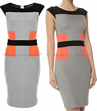 New French Connection 4 - 16  Manhattan Jersey Strech Colour Block Grey Dress