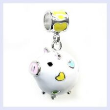 STR Silver Lovely Enamel White Pig Heart Dangle Bead for European Charm Bracelet