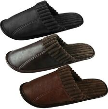 New Mens Faux Leather Mule Slippers Slip On Luxury Mules Size 6 7 8 9 10 11 UK
