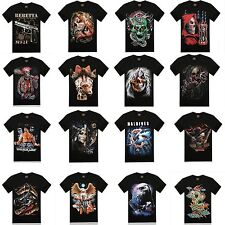 Men's 3D Animal Print Black T shirt Short Sleeve Cotton Casual Personalized Tee