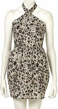 New Ladies TopShop Animal Print Halter Neck Short Summer Dress Women's Sun