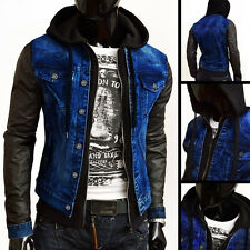 DESIGNER MENS JACKET DENIM LEATHER LIKE WINDBREAKER BLUE AUTUMN BUTTONS FITNESS