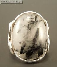 Large Sterling Silver Tourmaline in Quartz Wire Wrapped Ring
