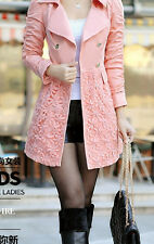 women New Lady Cotton blend Lace Long Double Breasted Trench Coat Jacket Suit