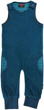 BNWT Baby Boys Girls Maxomorra PETROL Velour Soft Dungaree playsuit blue