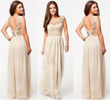 Women's Backless Bridesmaids Dresses Hollow Out Lace Long Evening Dress Topa H