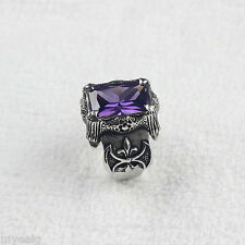 Silver Dragon Claw Amethyst Purple CZ 316L Stainless Steel Ring Men's Jewelry