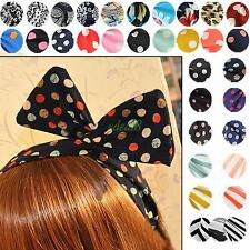 Sweet Bunny Rabbit Ear Ribbon Metal Wire Headband Scarf Head Hair Band 33 Colors