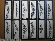 12 Packs Fluorescent Lower Back Temporary Tattoos Flower Butterfly Tribal Skull