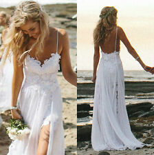 Sexy Lace Wedding Dresses Beach Bride Evening Party Prom Backless Stock :6-16