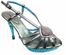 WOMENS SIZES 3 4 5 6 7 & 8 TURQUOISE SPIDER WEB PROM PLATFORM HEELS SANDAL SHOES