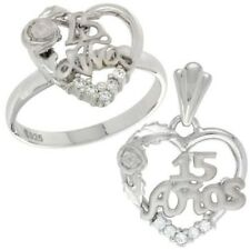 """925 Sterling Silver Quince """"15 Anos"""" Rose CZ Heart Ring & Charm Pendant Set"""