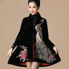 Luxurious Women's velvet Sequins Embroidery Trench coat Long Jacket Parka XXXXL