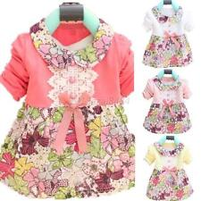 Toddler Baby Girl One Piece Floral Princess Dress Doll Collar Bowknot Kids Dress