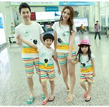 New Summer Family Man Woman Girl Boy T shirt + Pants set 1sets Family clothes